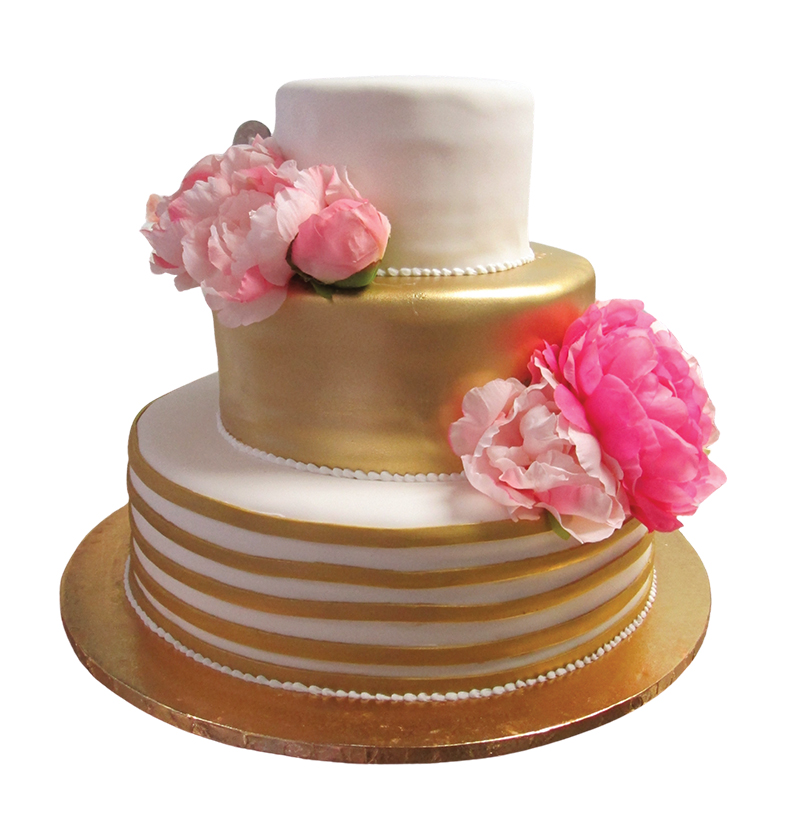 Gold and whie wedding cake with pink flowers by Haydel's Bakery