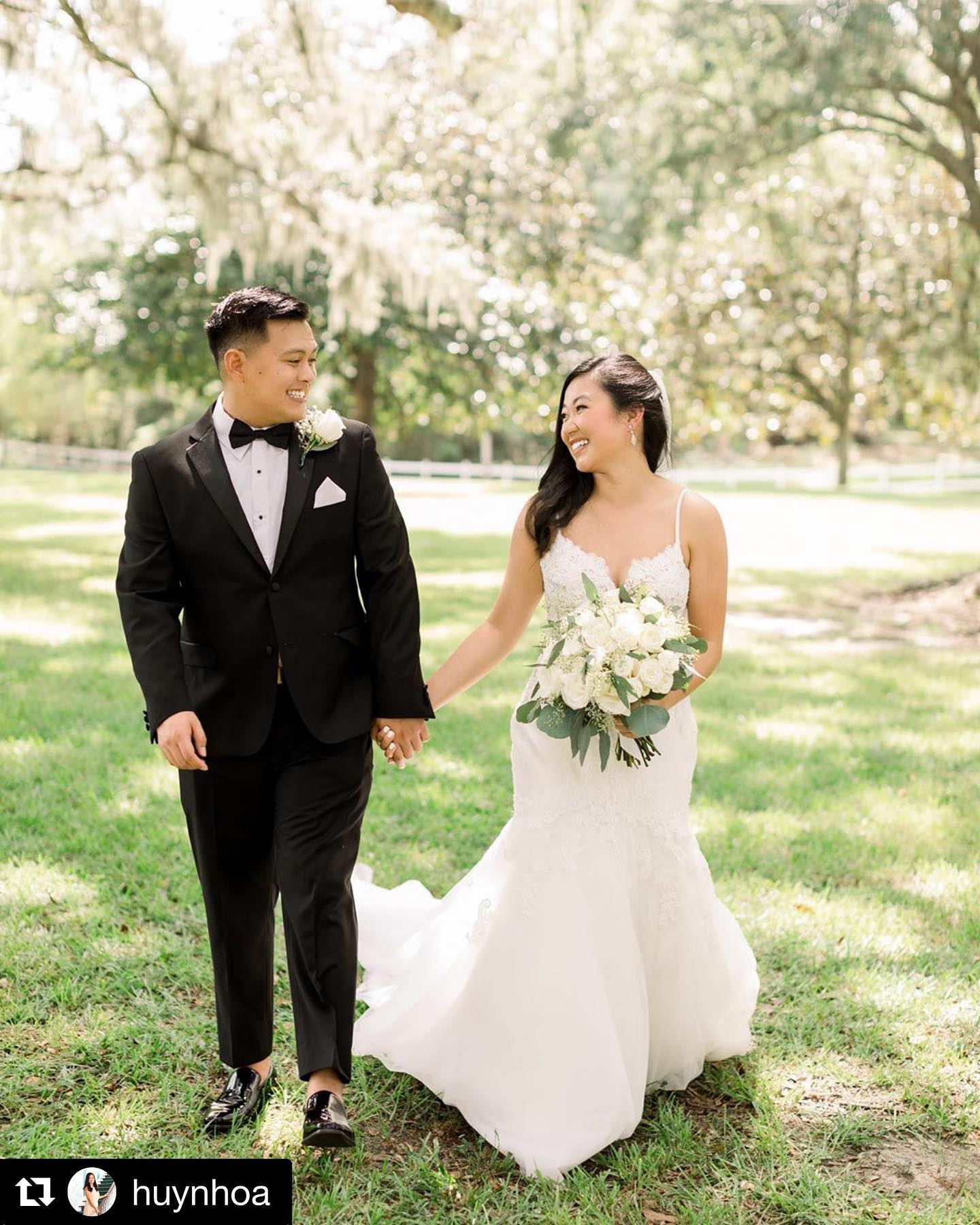 Bride with Groom in classic black tuxedo from Tuxedos to Geaux