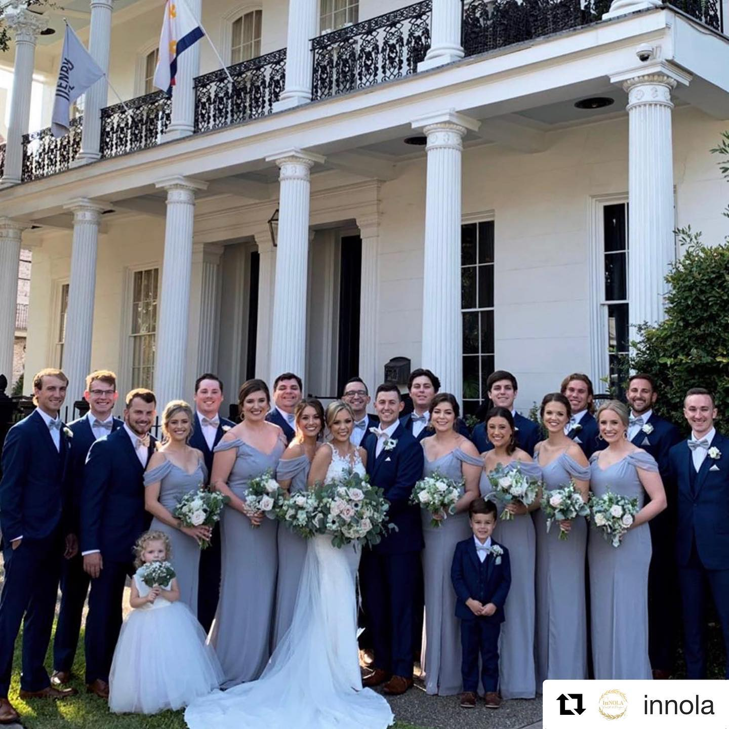 Wedding party wearing Tuxedos to Geaux