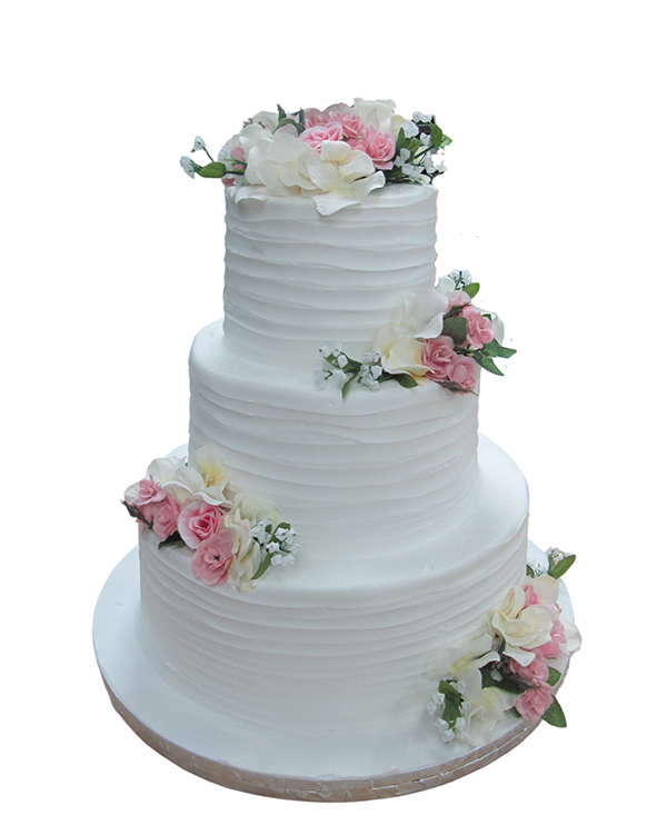 White Wedding Cake With Texture And Flowers By Haydel's Bakery
