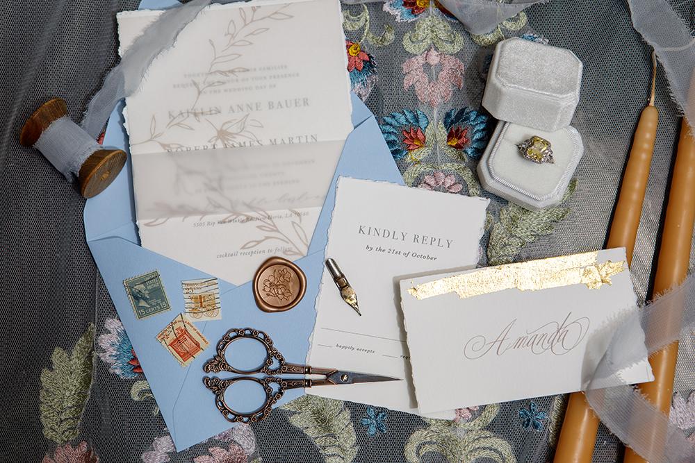 Wedding invitation suite by Amber LeBlanc Studio