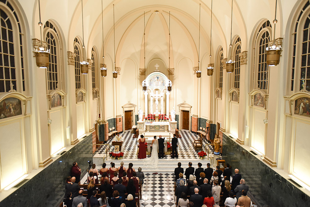 Gabriela and Kristian's wedding ceremony at Notre Dame Seminary Chapel