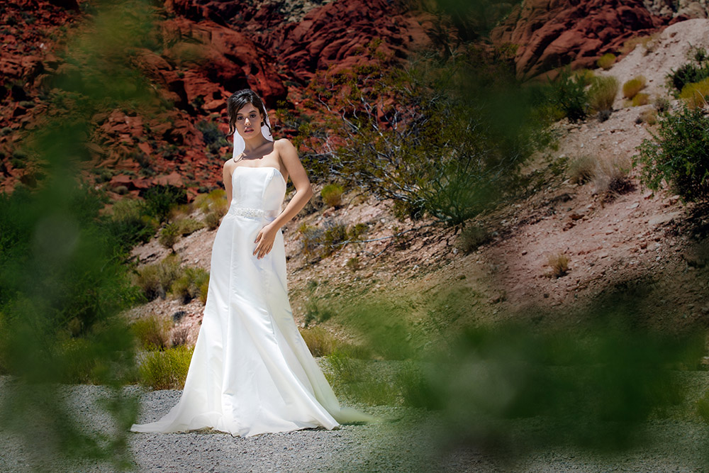 Bride in the dessert photographed by Amin Russell Photography