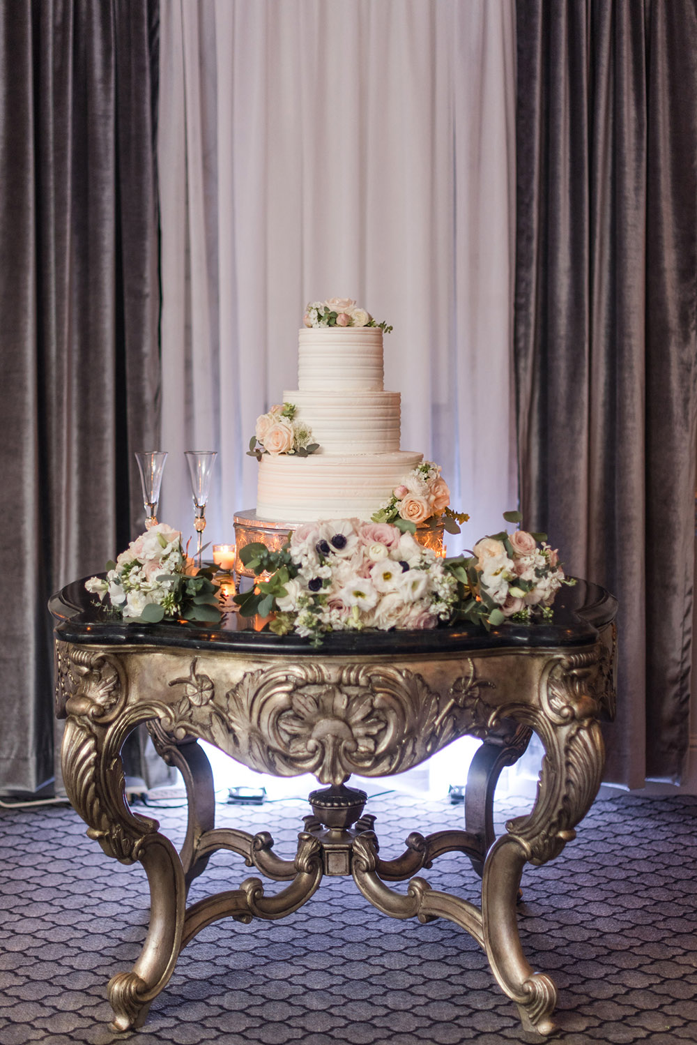 The wedding cake by Gambino's Bakery