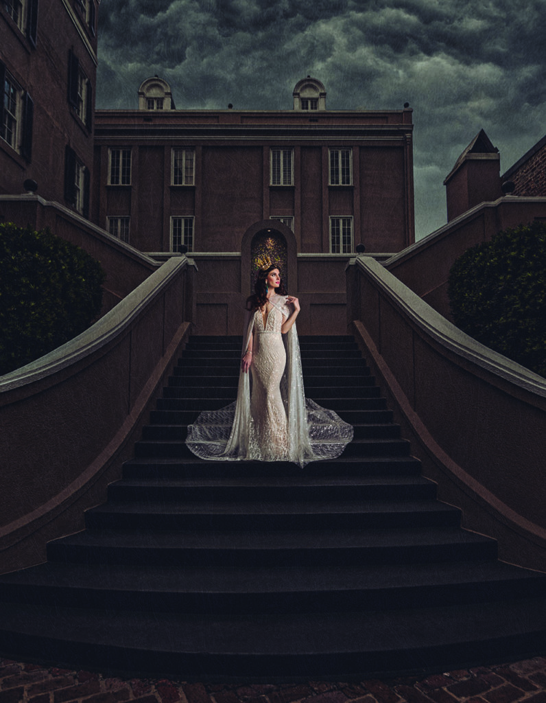 Bride on the staircase at the W French Quarter, New Orleans | Brian Jarreau Photography