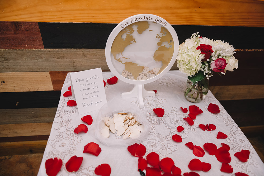 "Mari and Ian's ""globe"" guest book. Photo: Rare Sighting Photography"