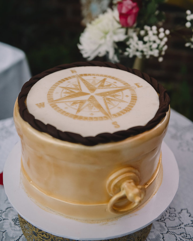 The groom's cake featured a Compass Rose design. Photo: Rare Sighting Photography