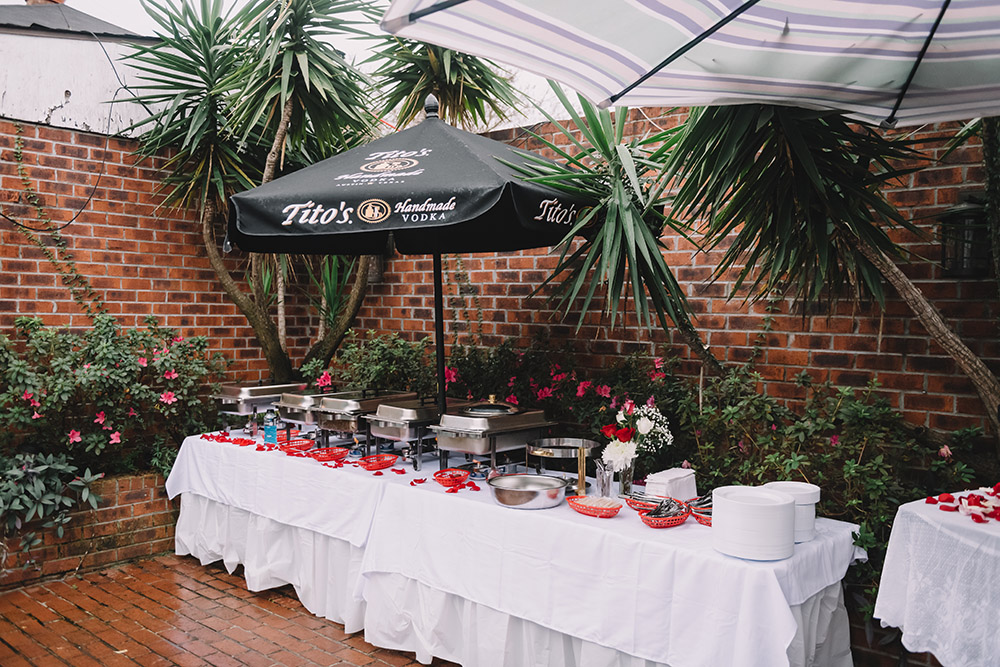 Wedding catering set up in Down the Hatch courtyard. Photo: Rare Sighting Photography