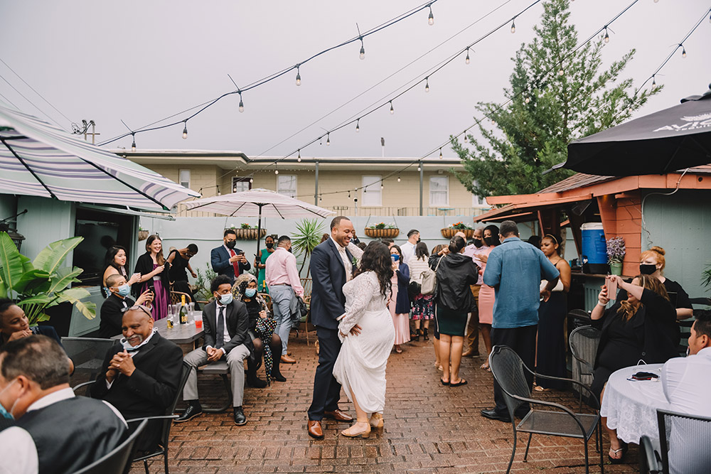 Mari and Ian dance in the courtyard at Down the Hatch. Photo: Rare Sighting Photography