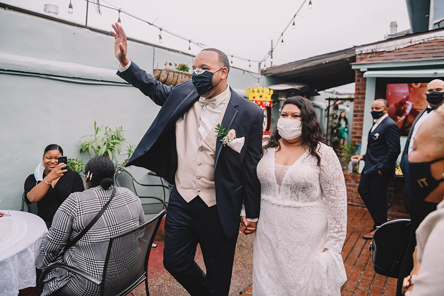 Newly weds are announced in Down the Hatch courtyard. Photo: Rare Sighting Photography