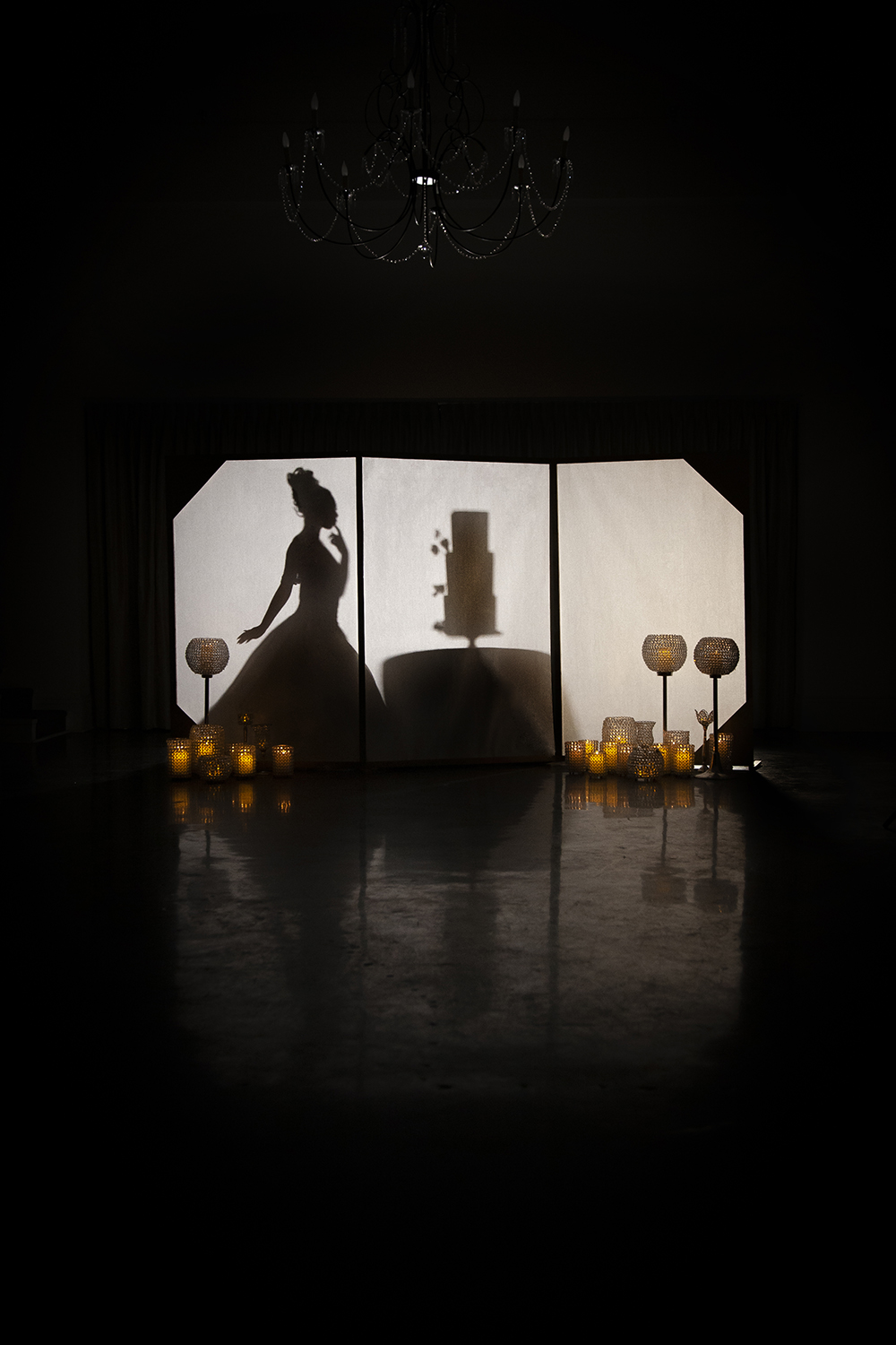 Silhouette of a bride and wedding cake.
