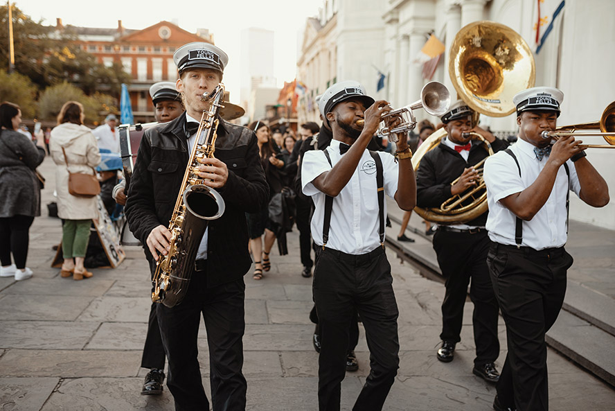 Young Fellaz Brass Band leads a Second Line in Jackson Square, New Orleans | Photo: Dark Roux