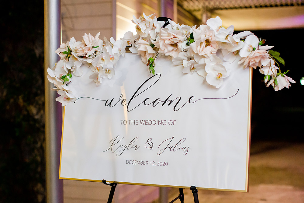 Welcome sign at Kaylin and Julius' reception.