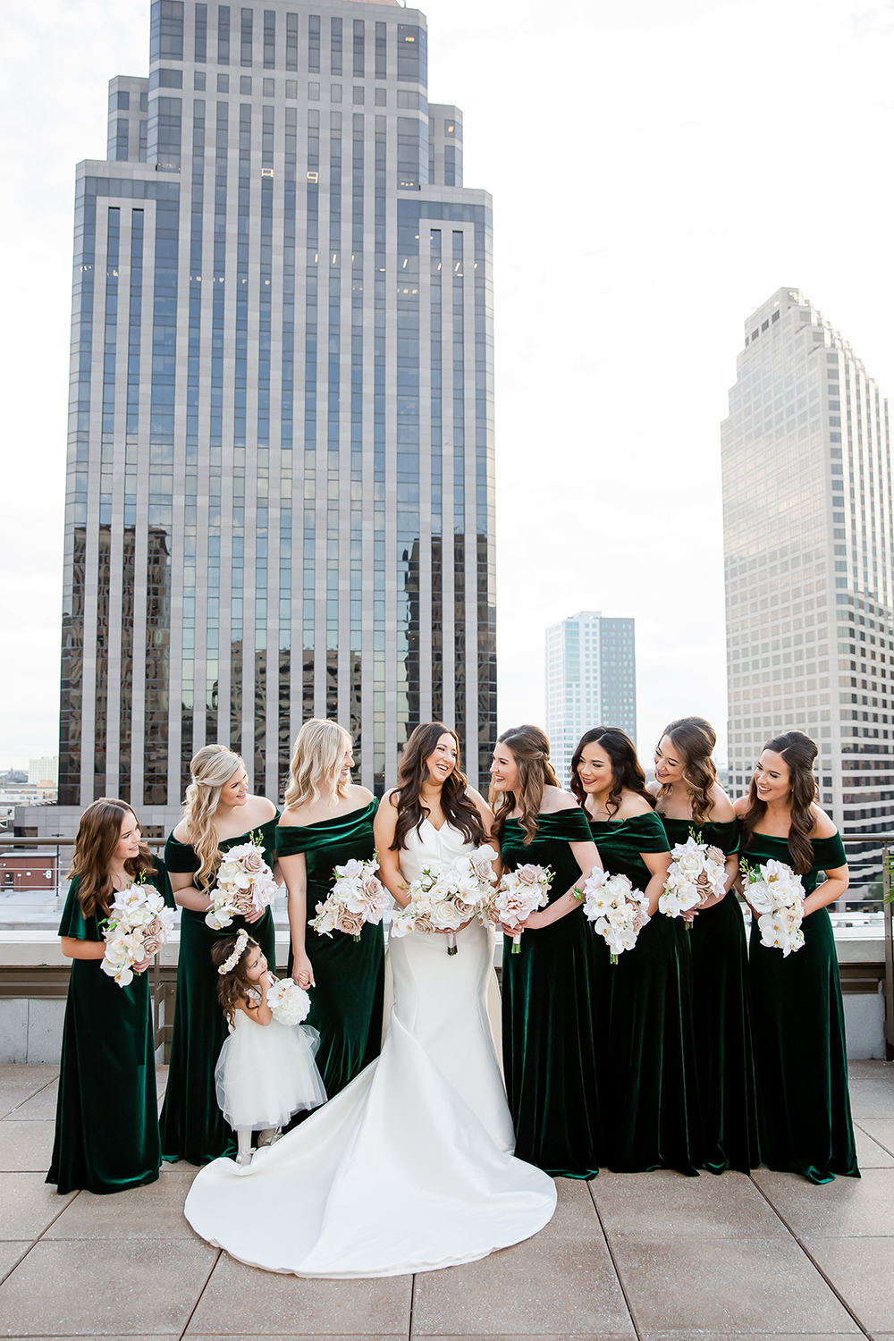 Kaylin and her bridesmaids on the rooftop of the NOPSI Hotel.