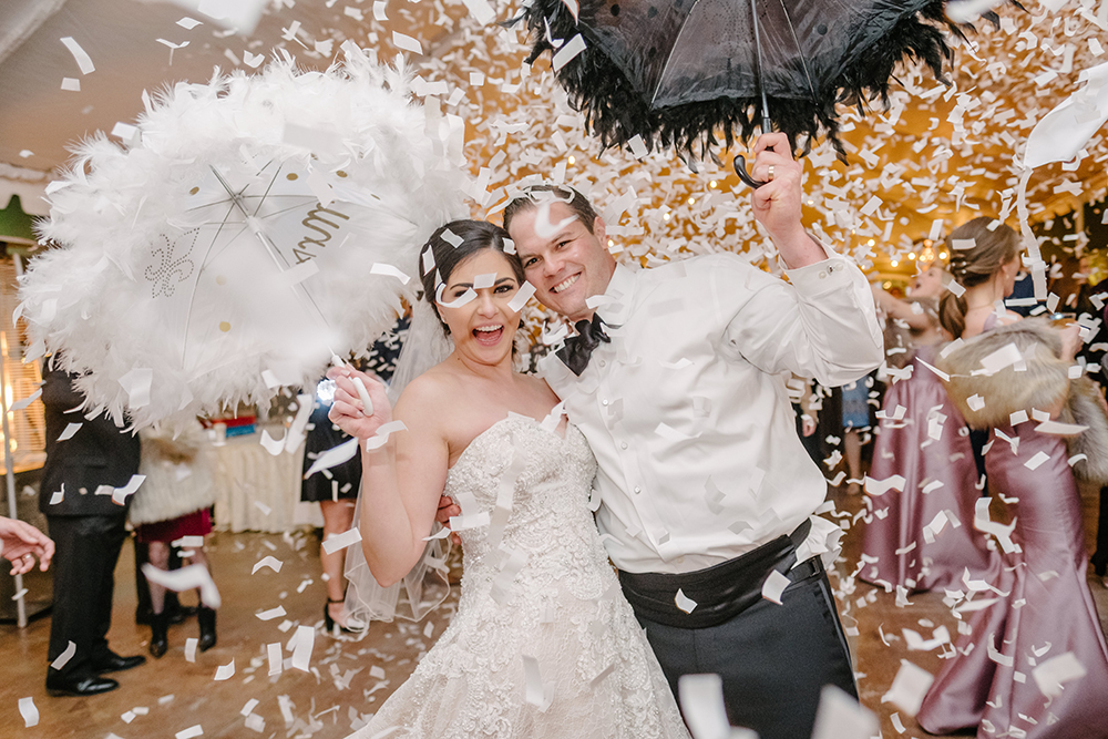 Francesca and Stanton's reception ended with a Second Line and a confetti drop over the dance floor.
