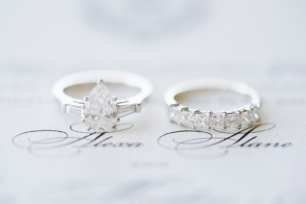 Alexa's engagement and wedding ring