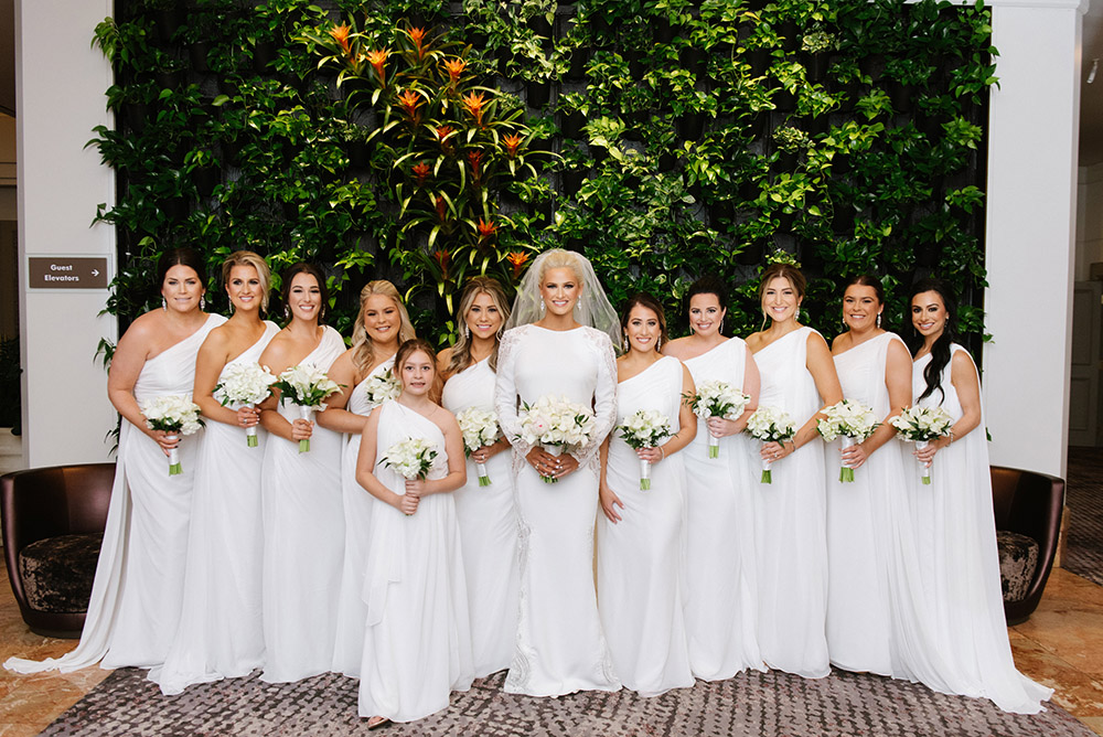 Alexa chose white gowns for her bridesmaids