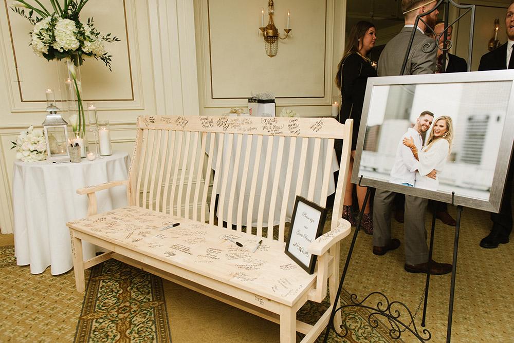 "Alexa and Adam's wedding guest ""book"" bench"