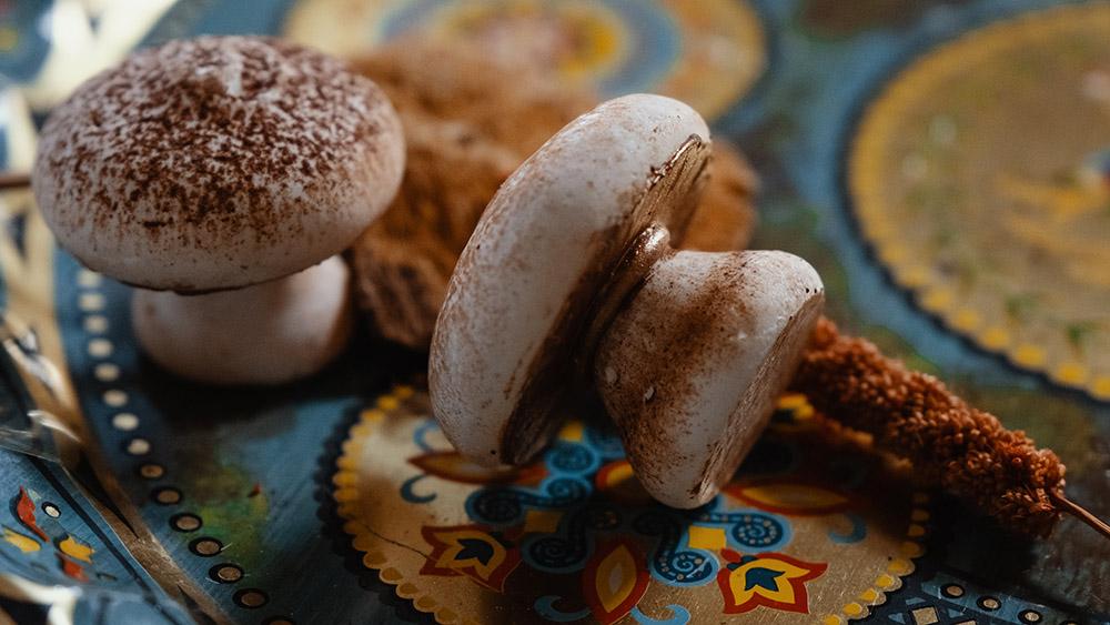 Mushroom shaped meringue wedding favors