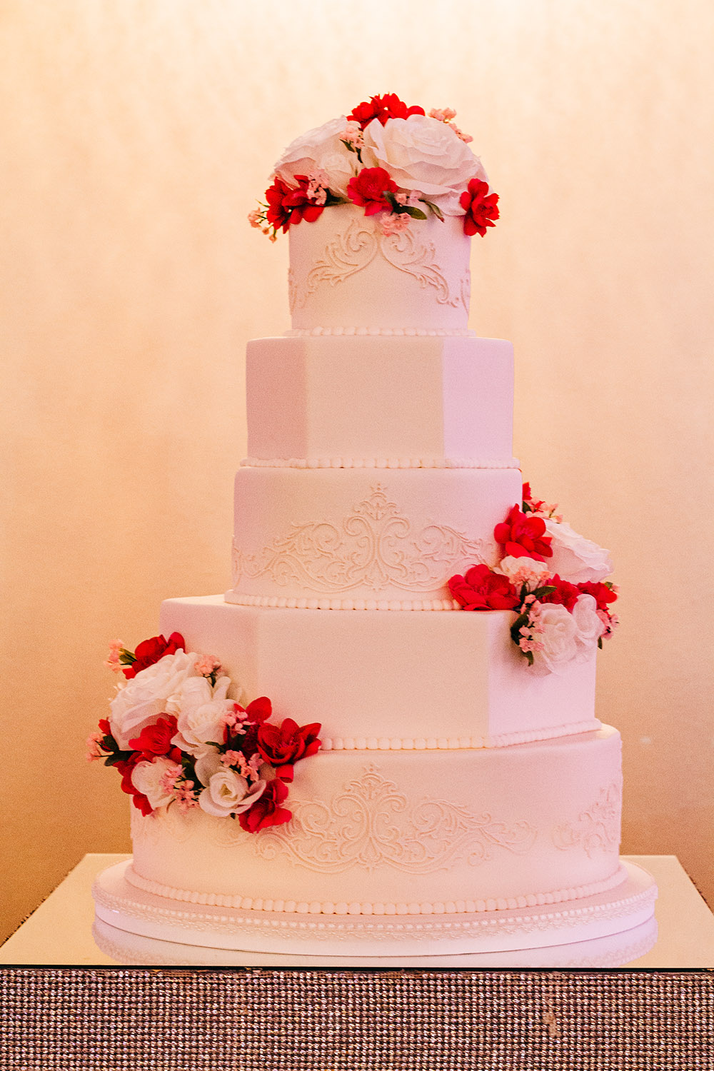 Fondant Wedding Cake With Round And Hexagon Tiers By Kimbla's Cakes