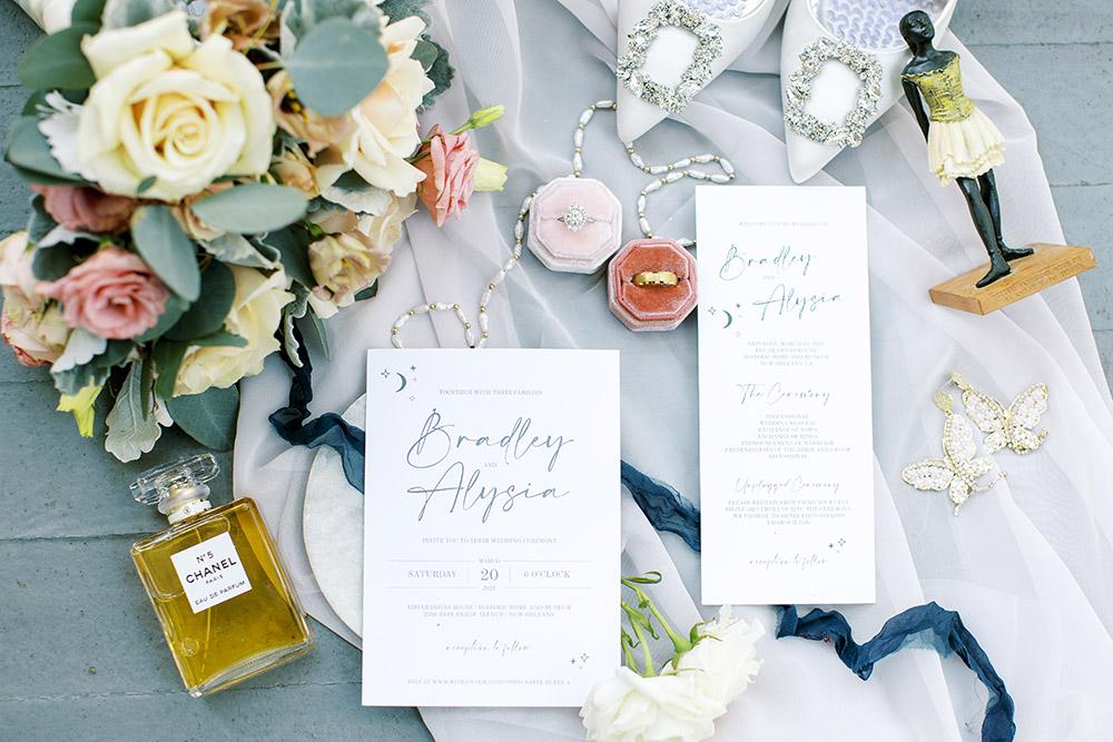 Wedding details flat lay