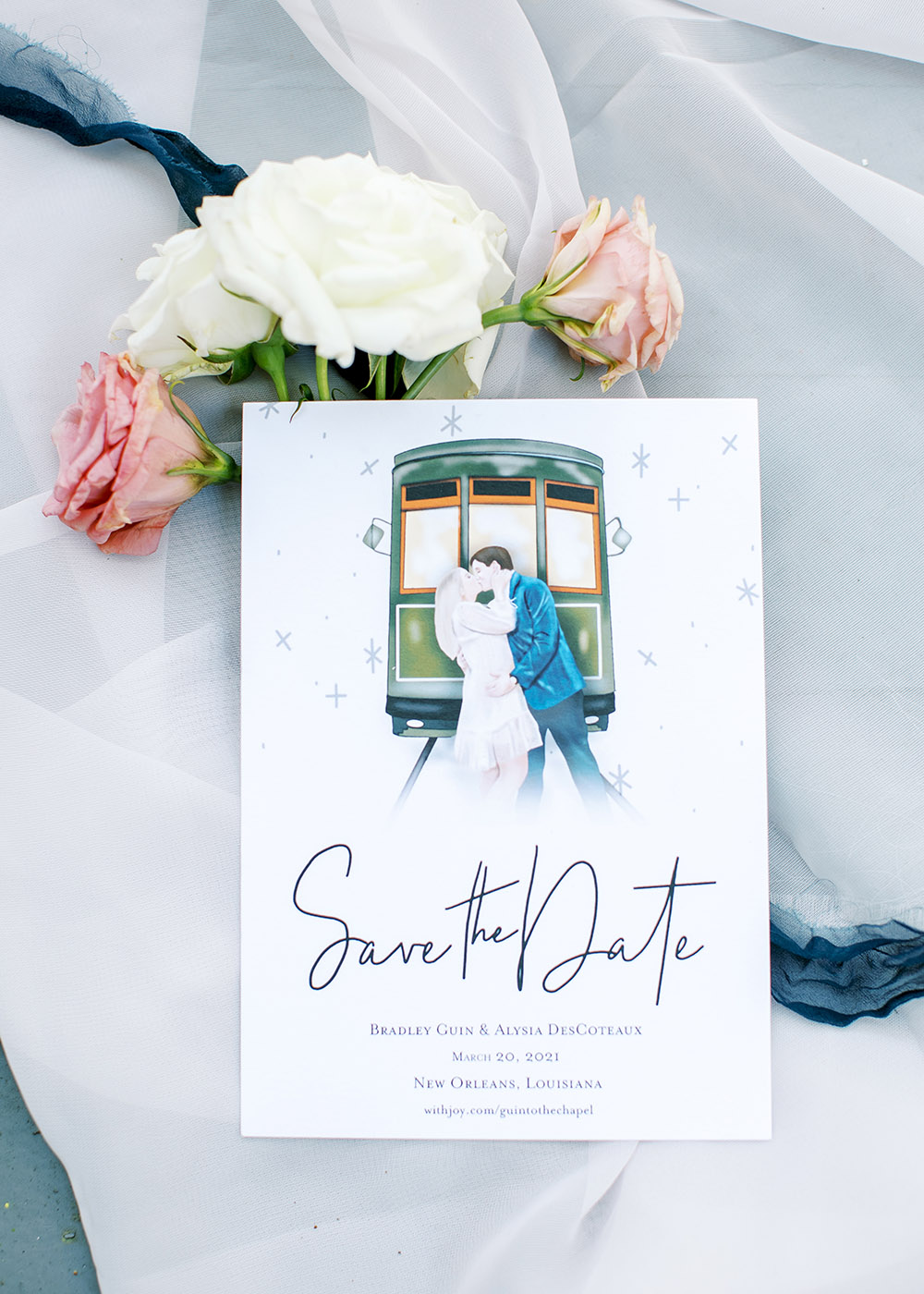Alysia designed all the wedding graphics including the Save the Date cards