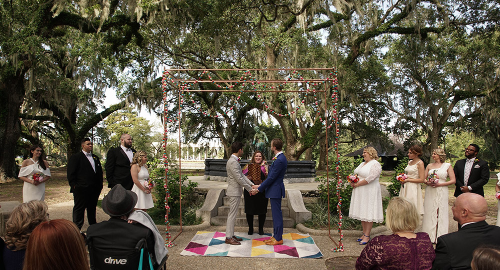 the wedding ceremony in New Orleans City Park
