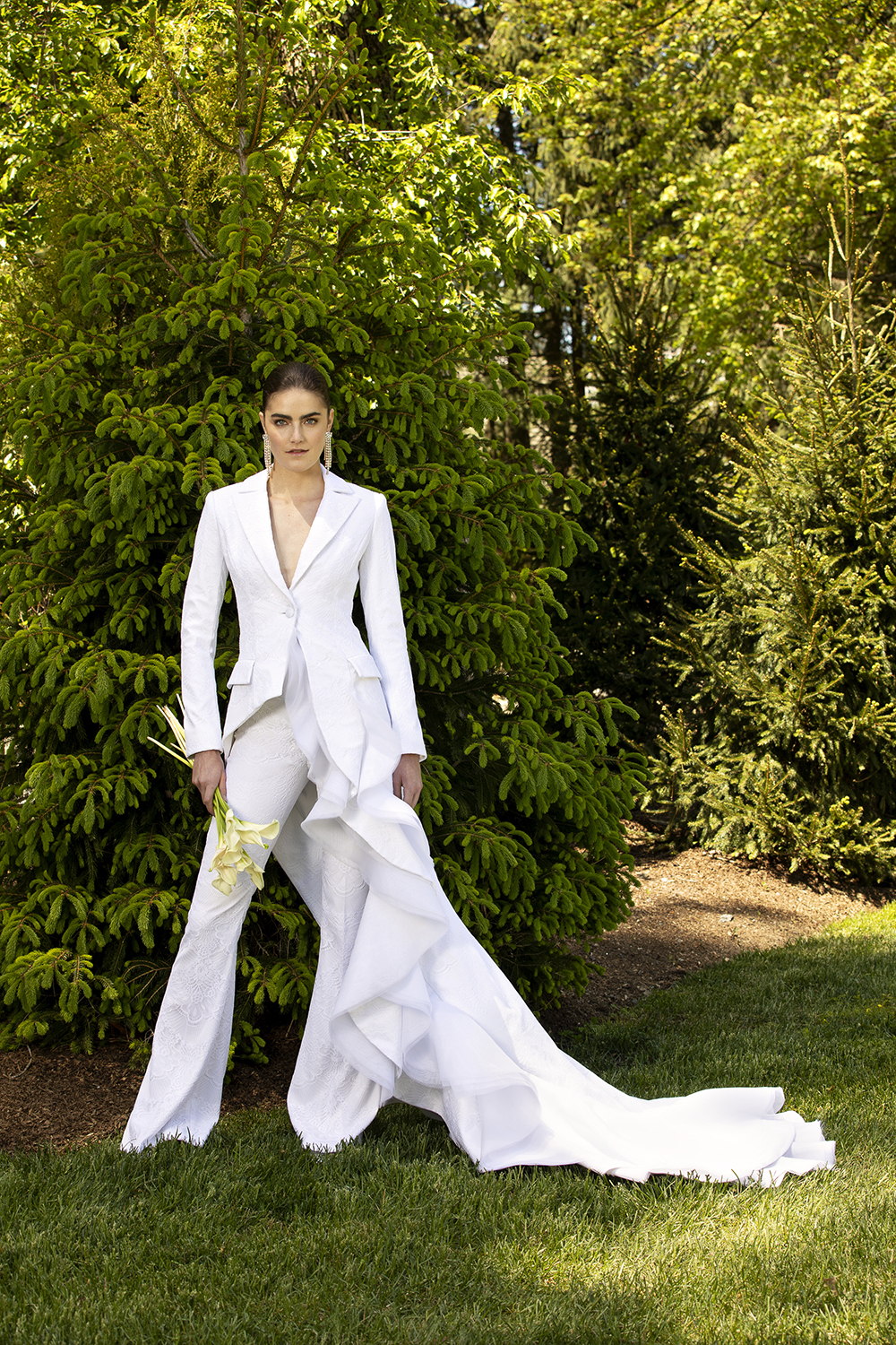 LACE AND ORGANZA ASYMMETRICAL RUFFLE BLAZER WITH FLARE TROUSER