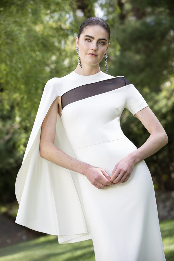 CREPE MODERN CAPE SLEEVE GOWN BY CHRISTIAN SIRIANO