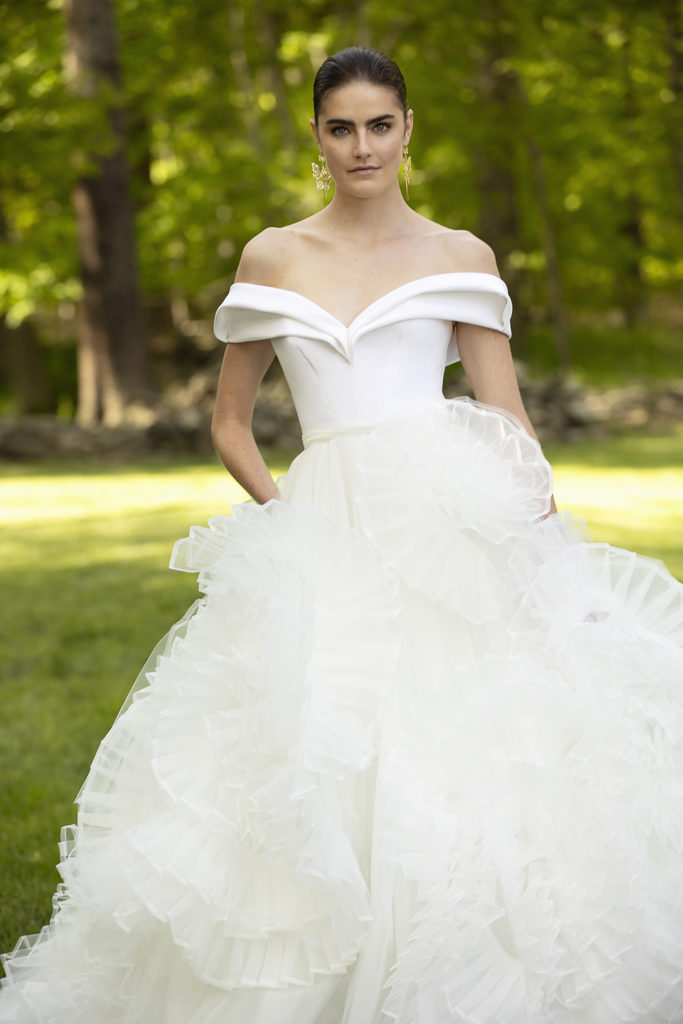 SCULPTED CREPE OFF THE SHOULDER BODICE WITH ORGANZA AND TULLE ROSETTE SKIRT BY CHRISTIAN SIRIANO