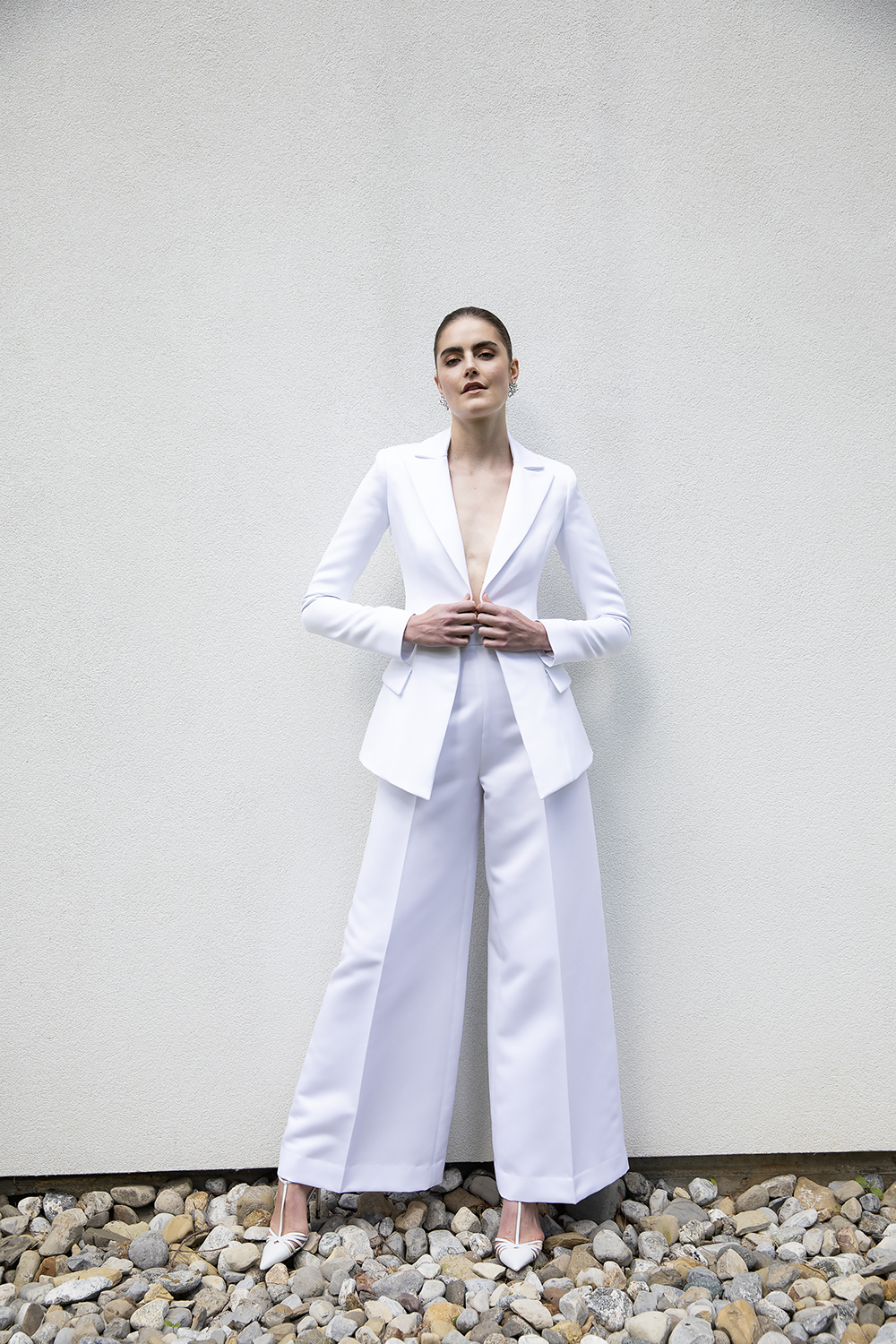 SILK FAILLE SINGLE BUTTON BLAZER WITH WIDE LEG TROUSER SUIT BY CHRISTIAN SIRIANO