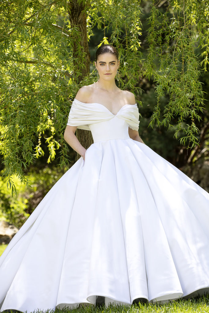 SILK FAILLE OFF THE SHOULDER DRAPED BODICE GOWN BY CHRISTIAN SIRIANO