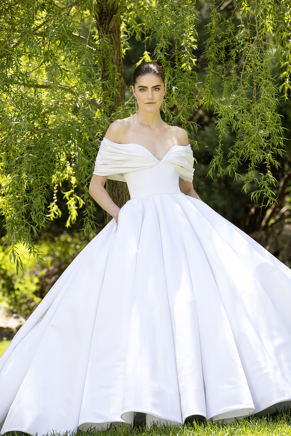 SILK FAILLE OFF THE SHOULDER DRAPED BODICE GOWN