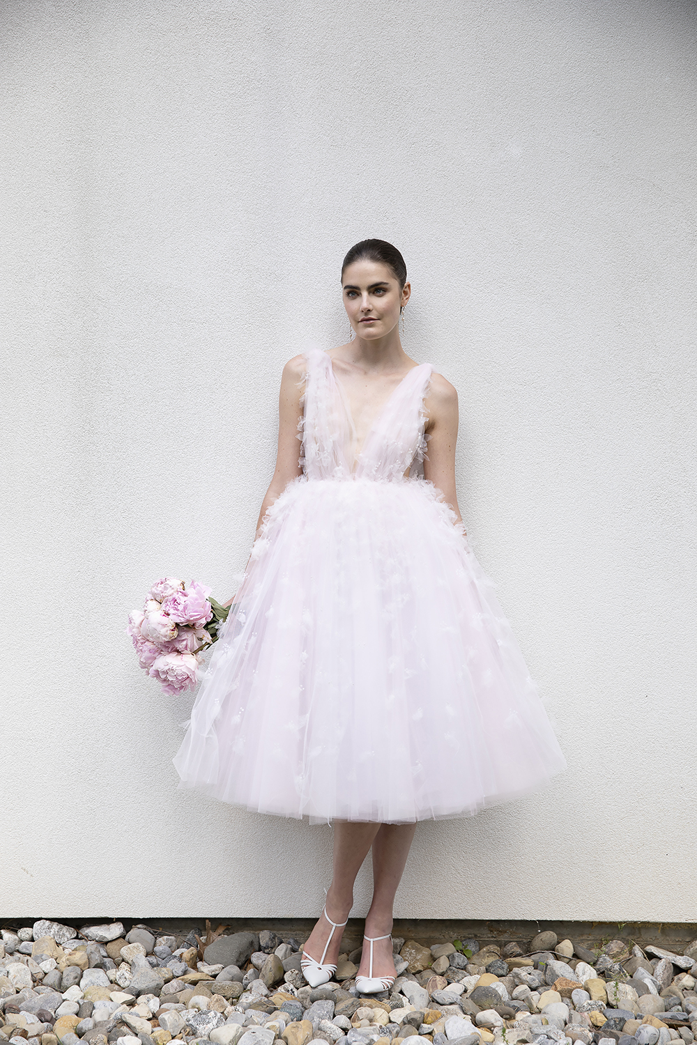 TULLE PINK LAYERED APPLIQUE GOWN BY CHRISTIAN SIRIANO