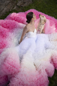 PINK OMBRE EMBROIDERED TULLE POPPY GOWN by Christian Siriano