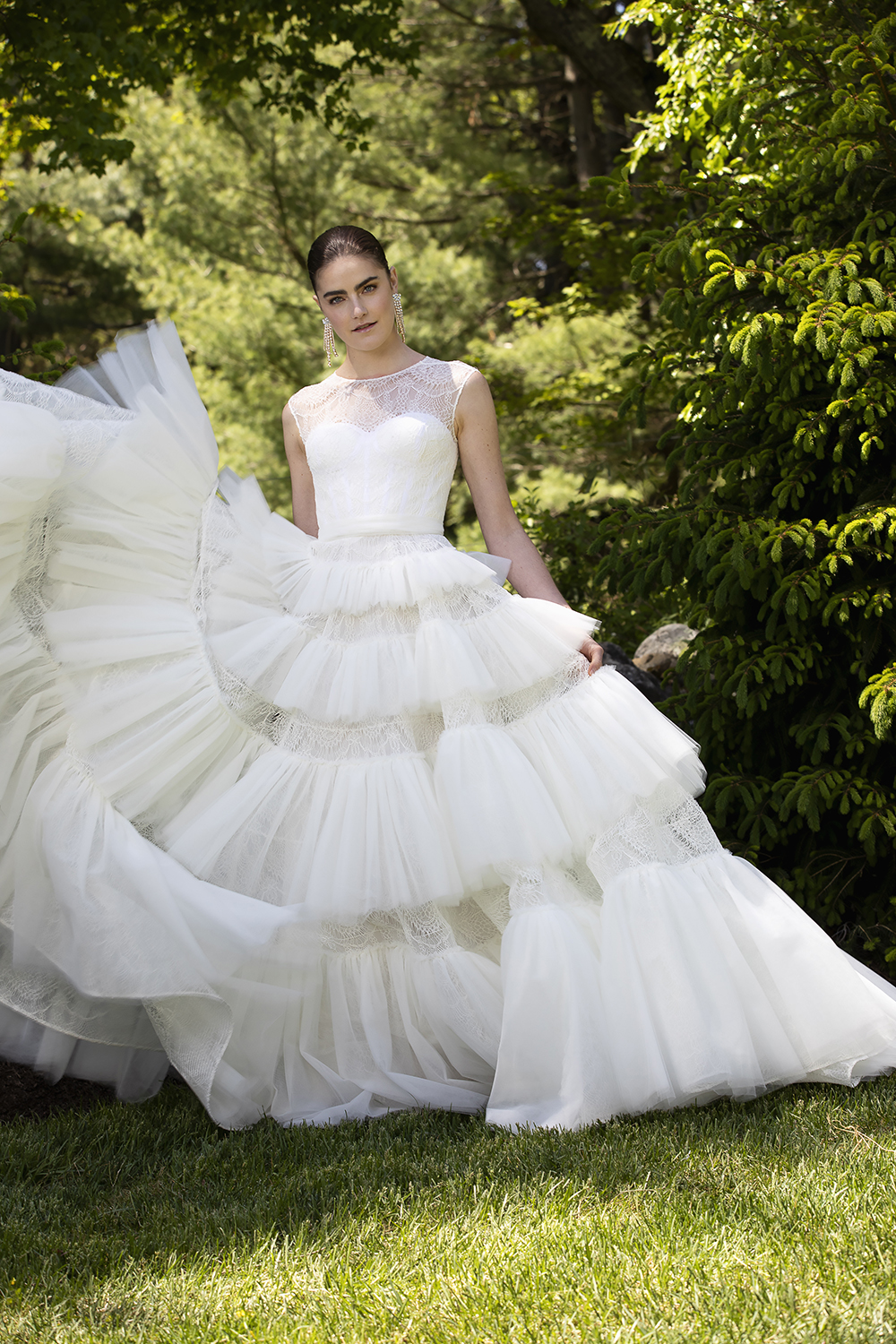 LACE AND TULLE CASCADING TIERED GOWN