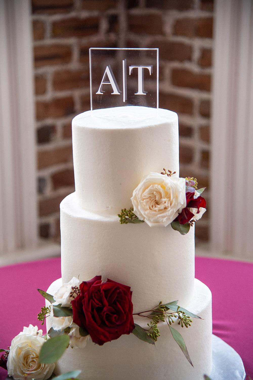 the wedding cake by Gambino's Bakery