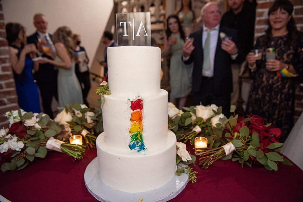 rainbow layers in the wedding cake