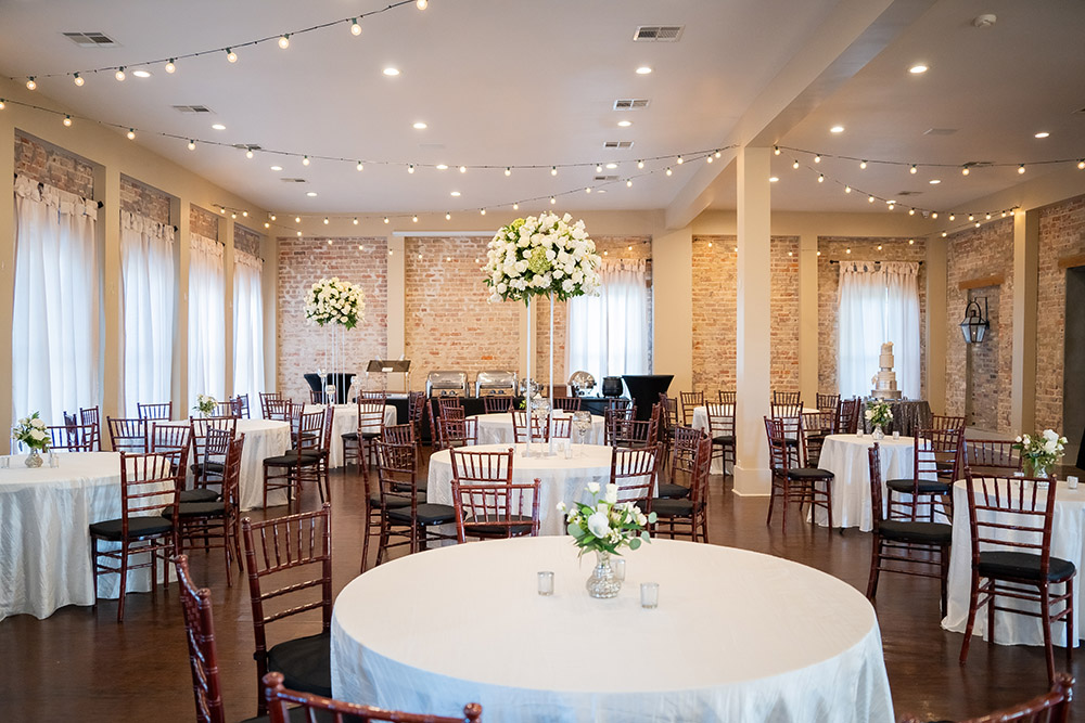 the wedding reception room at The Crossing