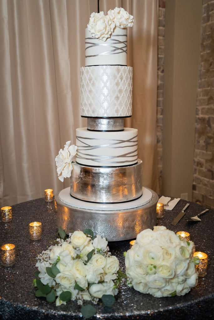 5 tier silver and white wedding cake