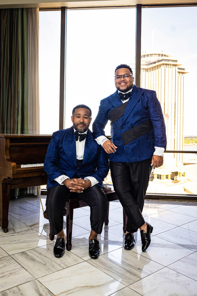 the grooms in the penthouse suite at DoubleTree New Orleans hotel