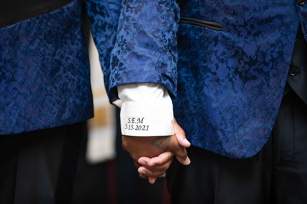 custom embroidered initials and wedding date on the shirt cuffs
