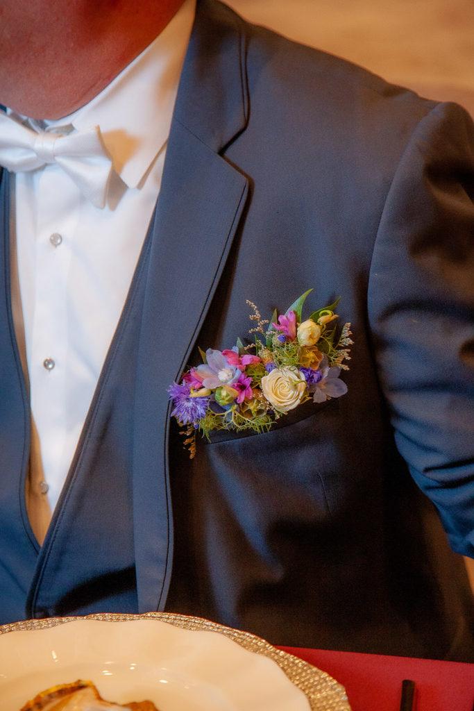 floral pocket square boutonniere alternative