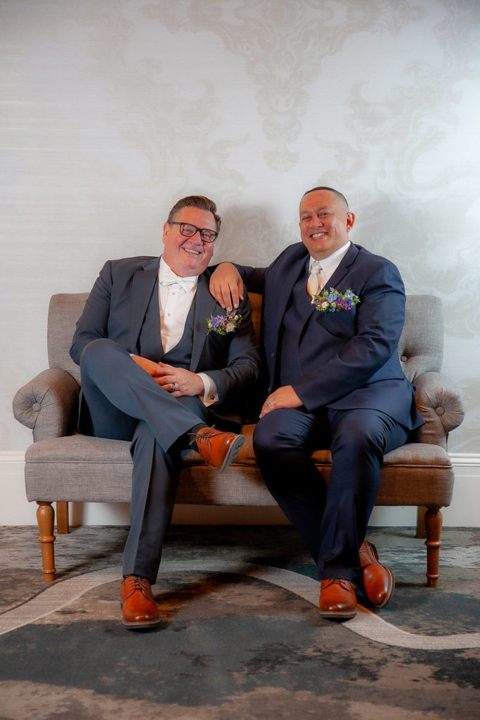 The grooms' reception attire