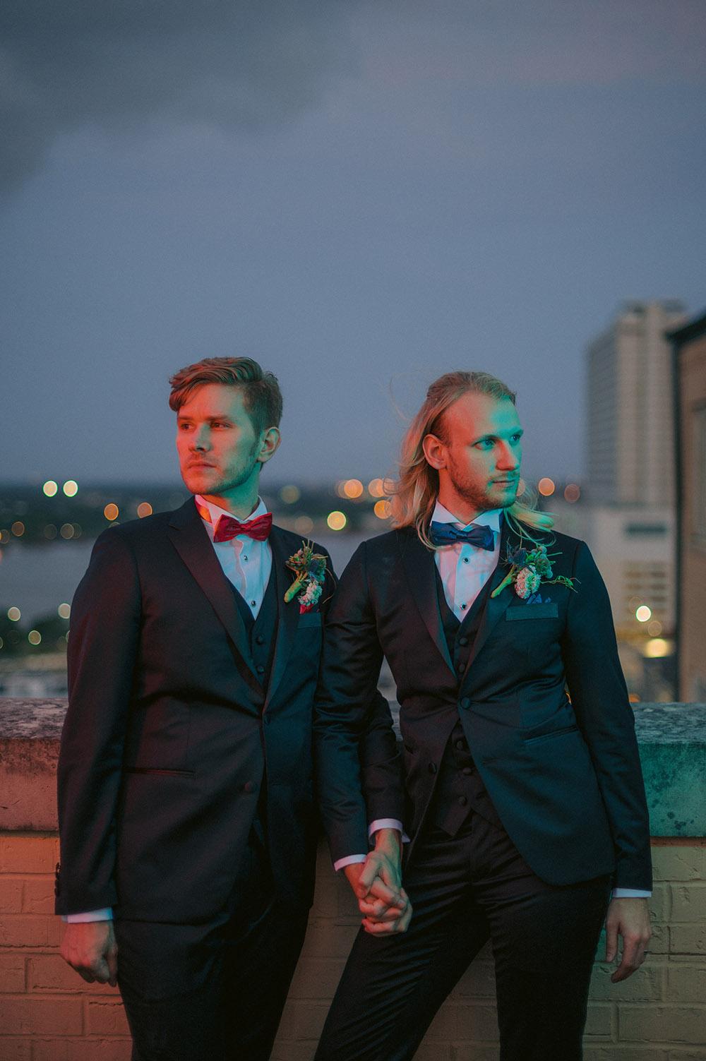 Wedding color groom portrait