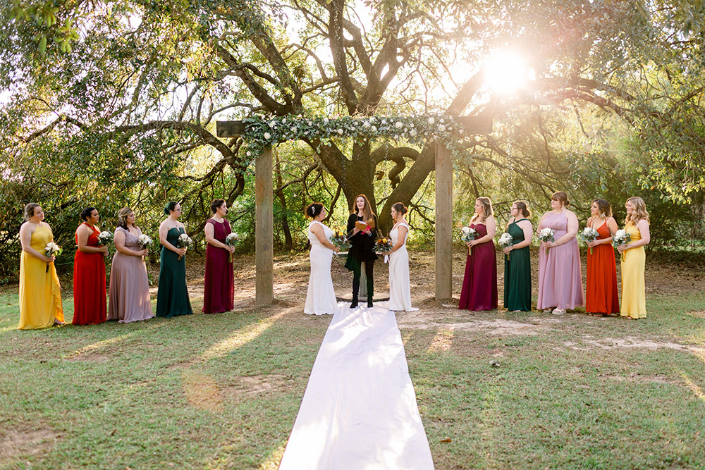 the wedding ceremony on the grounds of the Barn at Sarah Bella in Picayune, MS