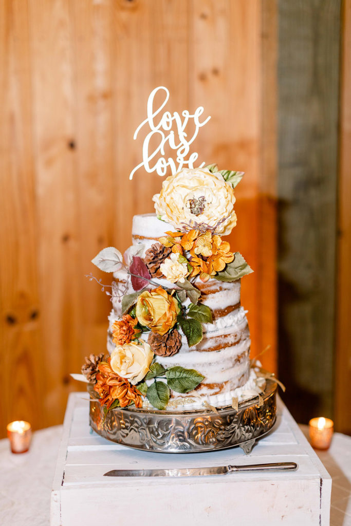 """""""naked"""" wedding cake with love is love cake topper"""