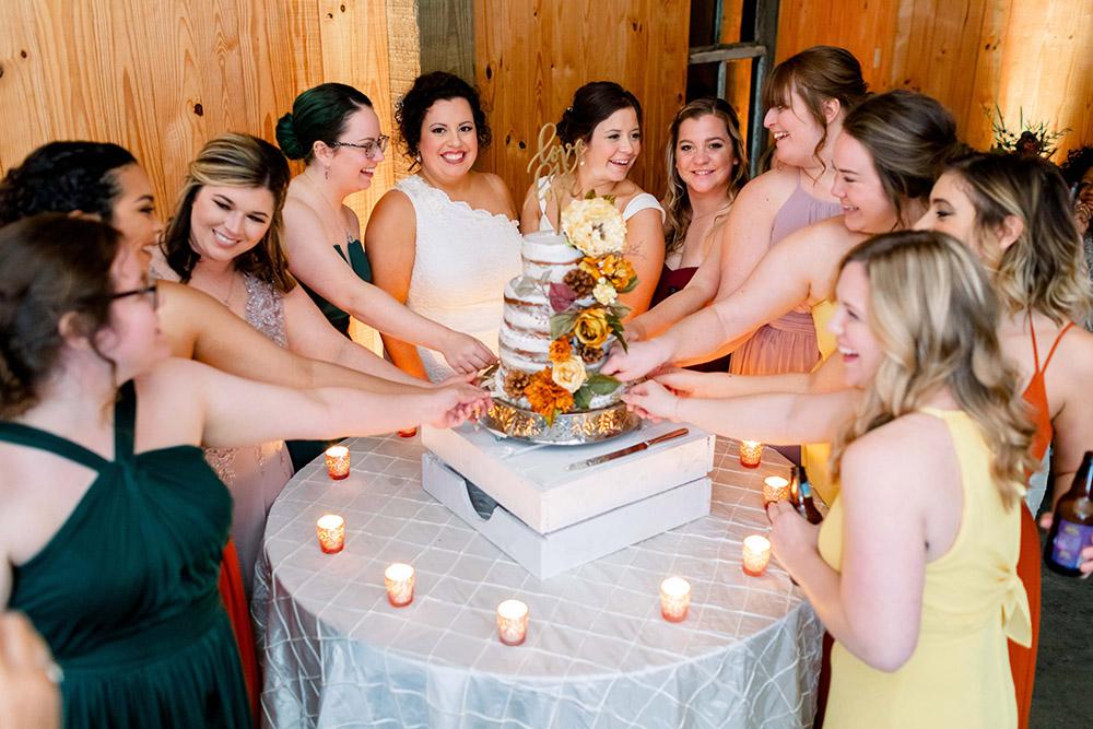 the wedding cake pull ceremony