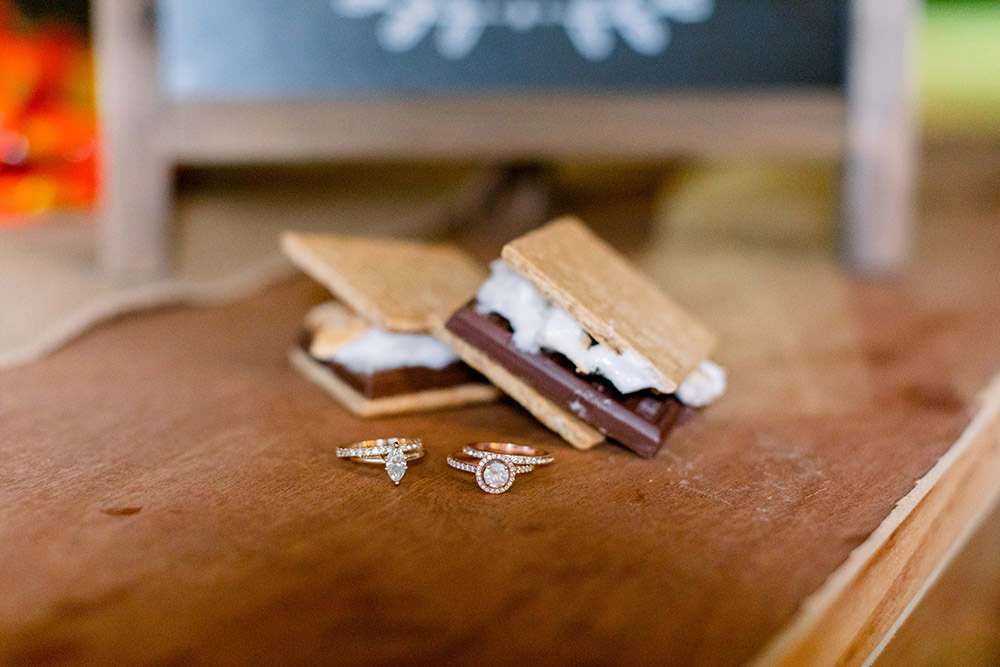 the brides' rings and s'mores