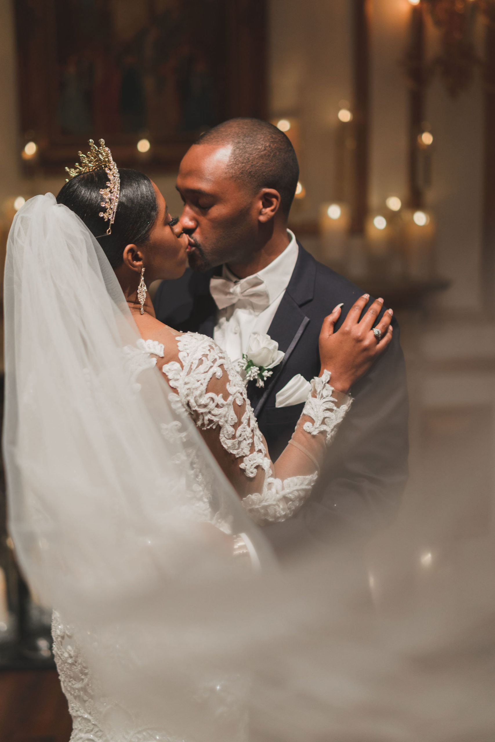 Bride and Groom Kiss XXI Facets Photography
